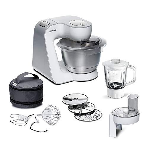 Bosch MUM5 CreationLine Küchenmaschine MUM58227, vielseitig einsetzbar, große Edelstahl-Schüssel (3,9l), Durchlaufschnitzler, Glasmixer, 1000 W, weiß/silber