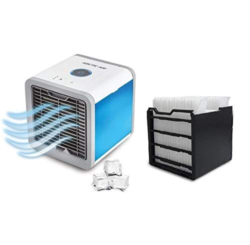 MediaShop Livington Arctic Air Set mit Filter – Luftkühler mit Verdunstungskühlung – Mobiles Klimagerät – 3 Stufen & Stimmungslichter – Mini Klimagerät kühlt 8h + Filter