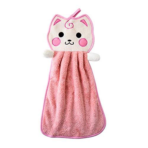 2 stuks van opknoping handdoek verdikking wassen handdoek Lanyard schattige kat schotel doek waterabsorptie sneldrogende keuken badkamer gemakkelijk te gebruiken
