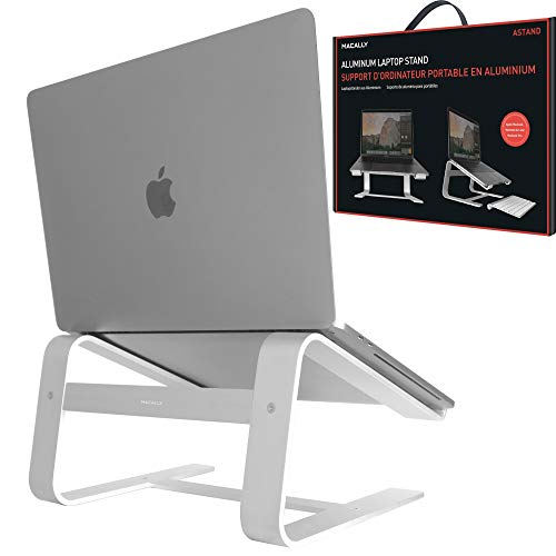 "Macally Aluminum Laptop Stand for Desk - Works with all Macbook /Pro/Air & Laptops between 10"" to 17.3"" - Sleek and Sturdy Laptop Riser - (ASTAND), Silver"