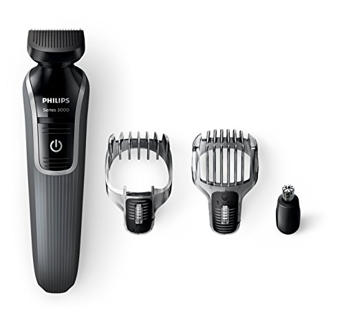 Philips Series 3000 4-in-1 Waterproof Mens Grooming Kit (Beard/Stubble Trimmer/Hair Clipper)