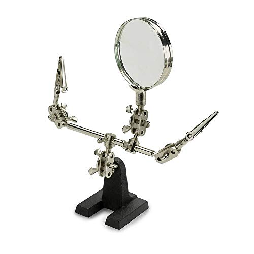 Vcedas Adjustable Helping Hand Magnifier Magnifying Glass Jewelry Clamp Holder Stand 360 Degree Rotatable Lens with 2 Adjustable Alligator Clips for Small Precision Projects (Helping Hands)