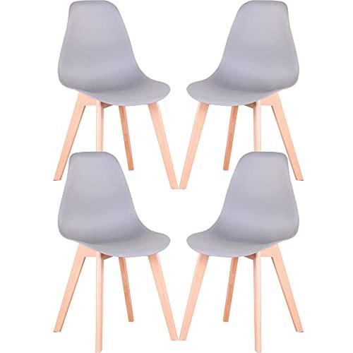 GrandCA HOME Nordica Silla de Comedor Pack 4 Sillas Comedor Madera Moderna para Oficina Cocina (Gris-4 sillas)