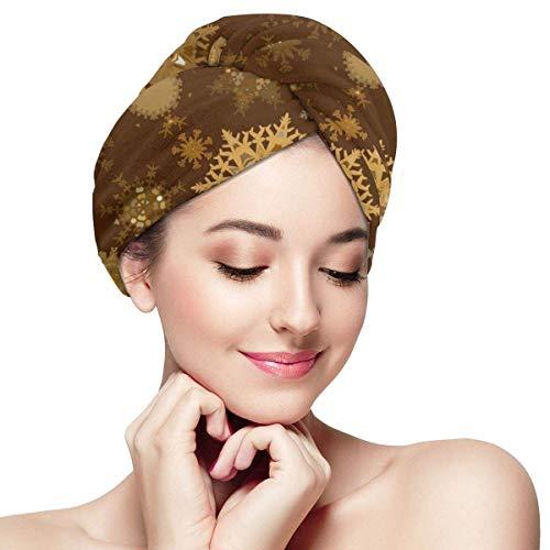 shotngwu Papel Pintado de Copos de Nieve Amarillos Papel de Microfibra Toalla de Pelo Turbante Absorbente Sombrero de Cabello de Secado rápido Gorro de baño Envuelto para Mujer