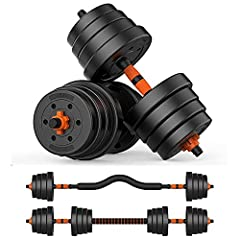 Adjustable Weights Barbell Dumbbells Set, 66 lbs 3 in 1 Weights Dumbbells Non-Slip Neoprene Hand with Connecting Rod for Adults Women Men Workout Fitness,Home Gym Exercise Training Equipment