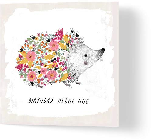 Floral Hedgehog - Birthday Card - Made from Recycled Materials - Greeting...