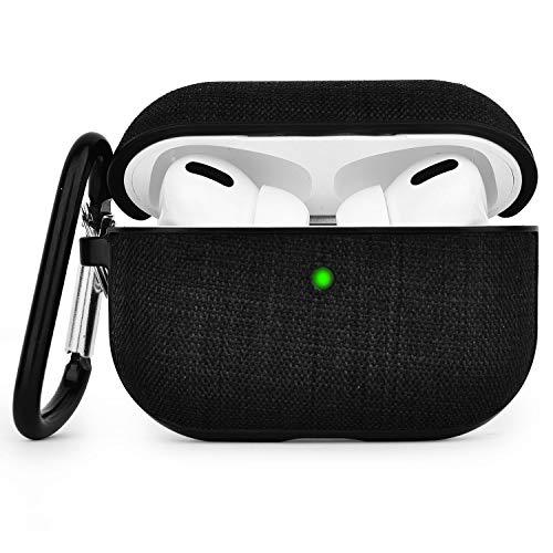 V-MORO Kompatibel mit Airpods Pro Hülle Case Kompatibel mit Apple AirPods Pro Wireless Hülle Case Airpod Pro Schutzhülle (LED an der Frontseite sichtbar) - [Unterstützt Kabelloses Laden] (Black)