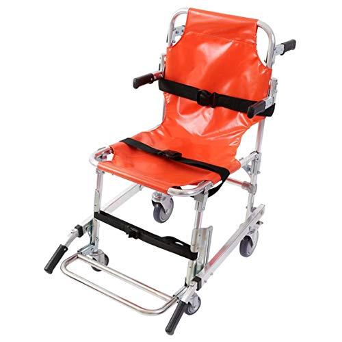Bahren für den Medizinbereich - Treppenstuhl LRSD-St009 Rettungswagen Mit 4 RäDern FüR RettungssanitäTer,Evakuierung,Medizinischer Transportstuhl Mit PatientenrüCkhaltegurten, 350 Lbs KapazitäT,Orange