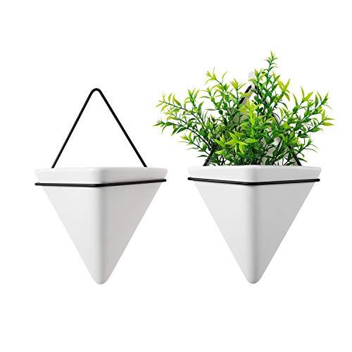 T4U 15cm Dreieck Wandvase Keramik mit Rahmen, Geometrische Wandmotage Pflanzgefäß Hängeampeln für Zimmerpflanzen, Weiß 2er-Set