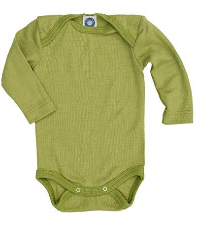 Cosilana Baby-Body, Wollbody, Größe 50/56, Farbe Grün, 70% Wolle und 30% Seide kbT