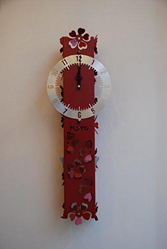 LUMONDE - Horloge Murale design Fantaisie et motif Fleur en métal de Couleur Rouge