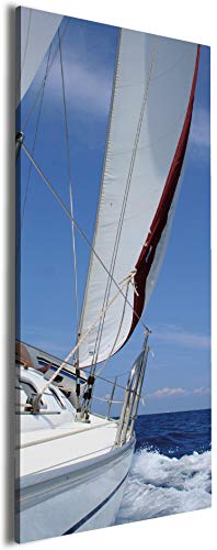 Wallario XXL Leinwandbild Segelboot on Tour - 60 x 150 cm Brillante lichtechte Farben, hochauflösend, verzugsfrei