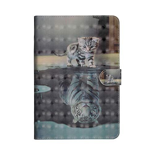 Sunrive Case For Samsung Galaxy Tab E 9.6 Inch SM-T560 SM-T561, PU Leather tablet Holster Case Card Slot Flip Wallet Stand Function gel magnetic Protective Skin Cover (Tiger and cat)
