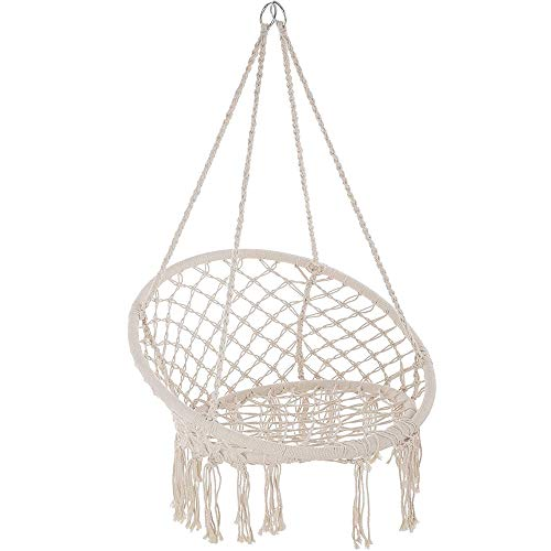 iropro Hammock Swing Chair Hanging Chair, Hanging Cotton Rope Macrame Chairs, Comfortable Sturdy Hanging Chairs for Living Room, Bedroom, Terrace, Balcony, Garden Furniture Nordic Style (Beige)