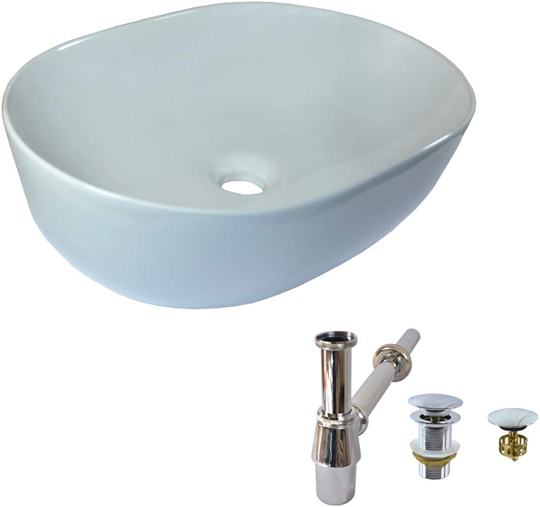 Ceramic Basin Set + Stopper Without Overflow Predection + Siphon Oval Countertop Ceramic 49 cm L 35 cm W