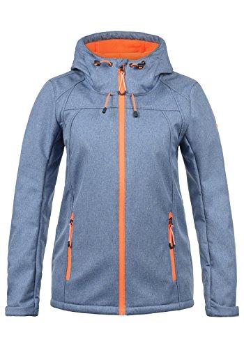 DESIRES Soley Damen Softshell Jacke Funktionsjacke Übergangsjacke mit Kapuze, Größe:XL, Farbe:Quiet Harbor Melange (1372M)