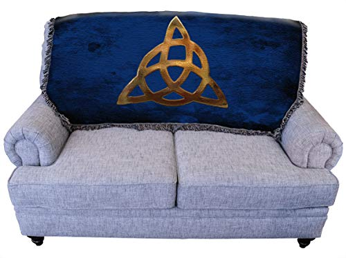 Pure Country Weavers Triquetra Celtic Blanket Throw for Back of Couch or Sofa - Woven from Cotton - Made in The USA (61x36)