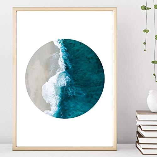 Din A4 Kunstdruck ungerahmt - Strand Meer Brandung Wellen Ozean Blau - Kreis Scandi Style Fotokunst Geschenk Druck Poster Bild