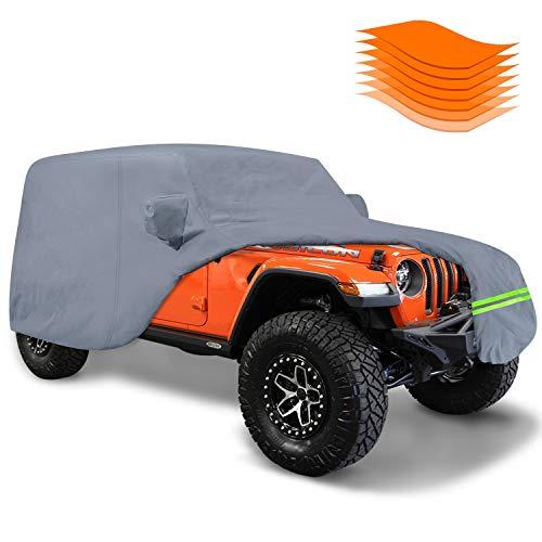 KAKIT 7 Layers Jeep Wrangler Cover 2 Door 100% Waterproof for TJ, CJ, YJ, JK, JL 1987-2017 Custom Fit with Door Zipper