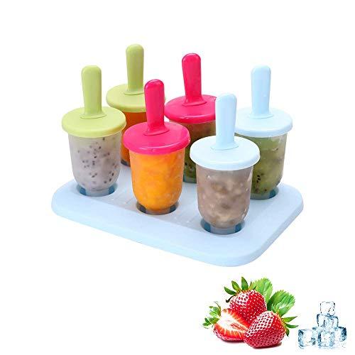 Eisformen, 6 Eisformen Popsicle Formen Set, BPA Frei, Eisförmchen Wiederverwendbar für Einfrieren Obst Joghurt, DIY Popsicle Formen Set, Perfekt für Kinder, Baby und Erwachsene
