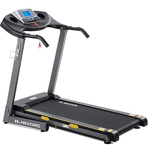 MaxKare Treadmill Electric Folding Treadmill Auto Incline Running Machine 2.5HP Power 8.5MHP Speed 12-Level Adjustment with 15 Pre-Set Training Programs Large LCD Display Cup Holder for Home Use by MaxKare