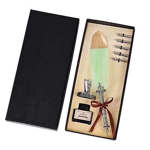 Pluma de caligrafía , Vintage caligrafía pluma pluma pluma pluma pluma manija 2/5 nib escribiendo tinta conjunto de tinta blando pluma escritura conjunto de cumpleaños regalo para principiantes en cal