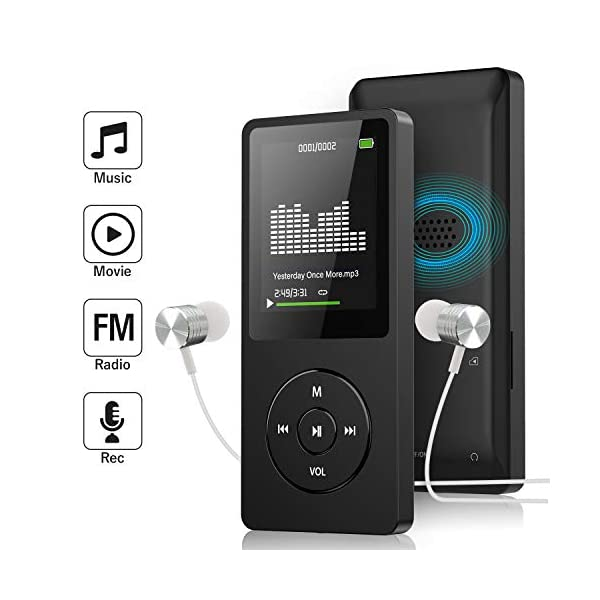 Mp3 Player with FM Radio and Voice Recorder, Ultra Slim Music Player with Video Play Text Reading and Build-in Speaker Support up to 128GB, Music Earphone Included (Black) 3