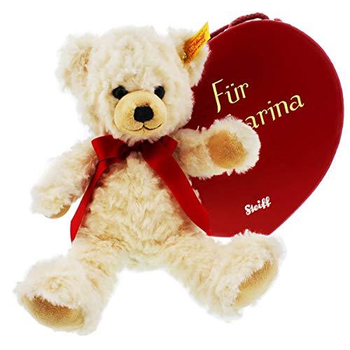 Steiff-Teddy-Bär in Herz-Box mit individueller Personalisierung des Namens - Die Geschenkidee zum Muttertag