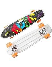 Blentude Monopatín Completo De 22 Pulgadas Mini Cruiser Retro Skateboard para Niños Adolescentes Adultos, Ruedas LED Iluminadas con Herramienta T De Skate Todo En Uno para Principiantes