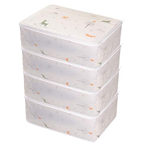 Cajas Almacenaje Ropa, 4pcs Bolsas para Guardar Ropa Impermeable en PEVA, Organizador Ropa Plegables para Edredón y Mantas Coloreado