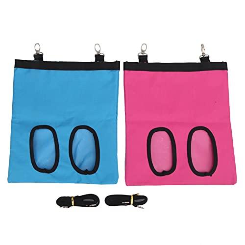 LZKW Futterbeutel, stärkt die Aufbewahrung des Futterautomaten mit 2 Haken für Kaninchen für Chinchilla(Blue+pink)