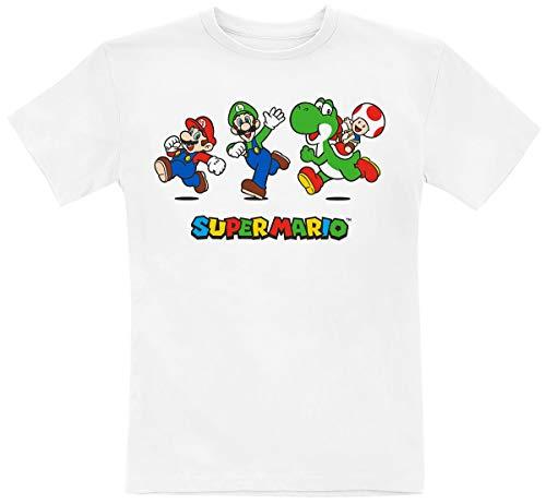 Super Mario Running Unisex T-Shirt weiß 128 100% Baumwolle Fan-Merch, Gaming, Retrogaming