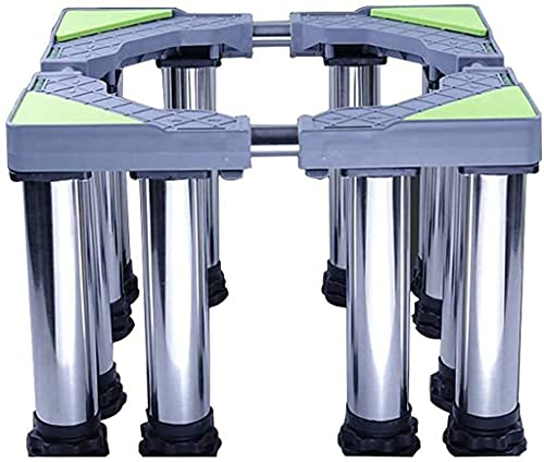 JYZT Multifunctional Washing Machine Base, Adjustable Stainless Steel Bracket With 12 Sturdy Feet, Fully Automatic Drum Refrigerator Shelf Shockproof And Moisture-proof