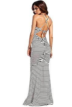 SheIn Women s Strappy Backless Summer Evening Party Maxi Dress Black Stripes Small
