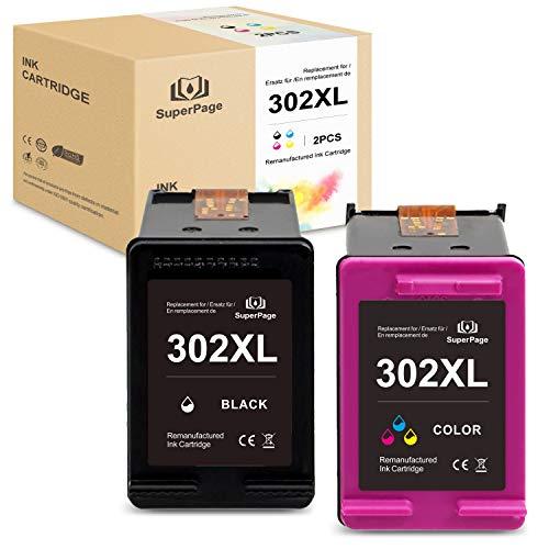 Superpage 302XL Wiederaufbereitet Druckerpatronen Compatible für HP 302 XL für HP Officejet 3833 3834 3830 3832 4650 4654 Deskjet 3630 2130 1110 Envy 4522 4524 4525 4520 Drucker,Schwarz Farbe