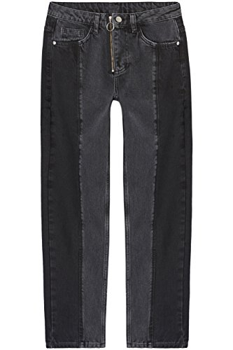 Amazon-Marke: find. Damen Gerade geschnittene Jeans mit Reißverschluss, Schwarz (Dark Grey), 30W / 32L, Label: 30W / 32L