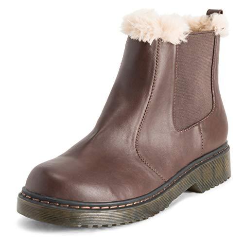 VIVASHOhe Chelsea laarzen voor dames, kunstbont, gevoerd, leer, trekken aan waterdichte chunky rubberen zool, wintersneeuwlaarzen