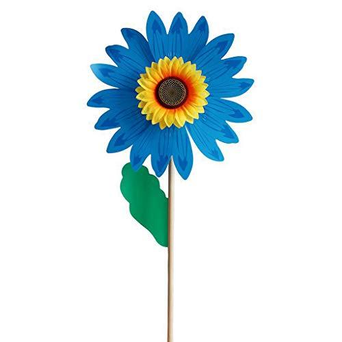 ER-NMBGH Legno Girasole Mulino a Vento Spinner Girandole,fai Da Te Wooden Windmill Kids Toy Arcobaleno Vento Spinner Prato Colorful Flower Domestico Del PVC Decorazione Dell'iarda Del Giardino Bambini