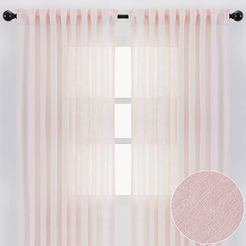 Chanasya 2-Panel Faux Belgian Flax Textured Semi Sheer Curtains - for Windows Living Room Bedroom Patio - Partial See Through Elegant Drapes for Privacy and Home Decor 52 x 84 Inches Long - Light Pink