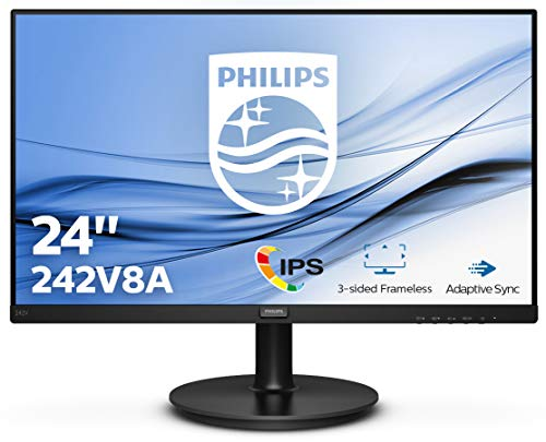 Philips 242V8A Monitor, 60 cm (23,8 inch), HDMI, DisplayPort, 4 ms reactietijd, 1920 x 1080, 75 Hz, FreeSync, zwart