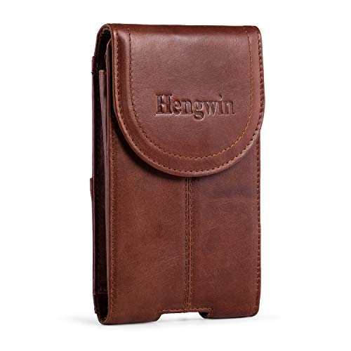 Hengwin Belt Clip Holster Pouch Genuine Leather Phone Case Holster with Magnetic Closure Purse Belt Loop Pouch Bag Compatible for iPhone XR 7 8 Plus Samsung S8 Plus +Keyring(Brown)