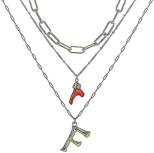 Aluyouqi Co.,ltd Collar Mujer Collar Inicial Oro Bambú Letra Inicial Nombre Collares Colgante Rojo Cadena de eslabones para Mujer Regalo de cumpleaños