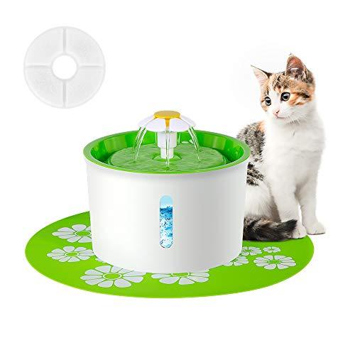 ERWEY Haustier Trinkbrunnen Blumentrinkbrunnen für Tiere Trinkbrunnen für Katzen und Hunde Automatisch Leise Katzenbrunnen Haustier Wasserbrunnen mit Aktivkohlefilter(1,6L (Grün))