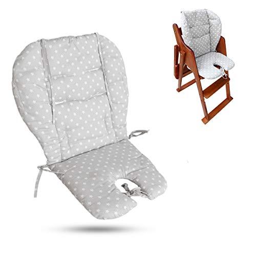 Cojín para silla alta, tamaño grande, grueso para cochecito de bebé/coche/silla alta, forro acolchado , adecuado para todo tipo de sillas de comedor de bebé (estrella gris de moda)