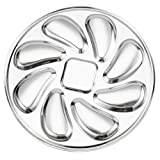 UPKOCH Oyster Plate Stainless Steel Oyster Pan Oyster Shell Plates for Oysters Sauce and Lemons