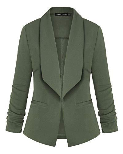 Unifizz Women's Lightweight Blazer Ruched Sleeve Open-Front Cardigan Work Office Jacket Army Green L