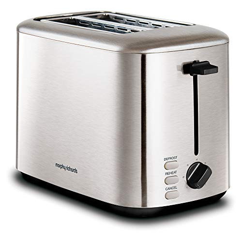 Morphy Richards 222067 Brushed Equip 2 Slice Stainless Steel Toaster, 800 W, Brushed