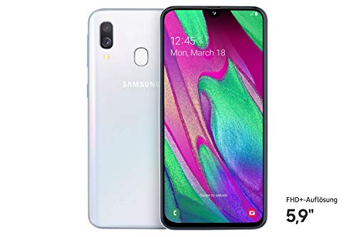 Samsung Galaxy A40 Smartphone (15.0cm (5.9 Zoll) 64GB interner Speicher, 4GB RAM, Dual SIM, White) - Deutsche Version