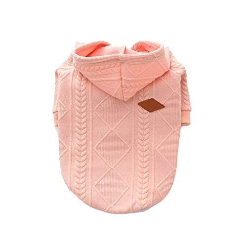 meioro Dog Sweater Zipper Hooded Dog Cat Clothes Cute Pet Clothing Warm Hooded Winter Warm Puppy French Bulldog Pug (S, Pink)