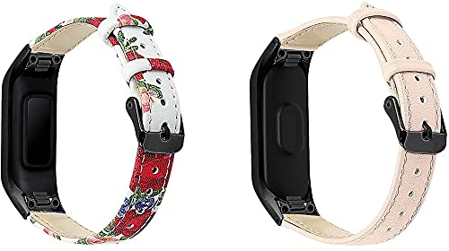 Correas de Reloj de Cuero Compatible con Galaxy Fit-e SM-R375, Gransho Bandas de Reloj de Piel de Becerro auténticas de la Vendimia Hombres Mujeres (Pattern 4+Pattern 7)